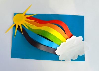 аппликация радуга из бумаги