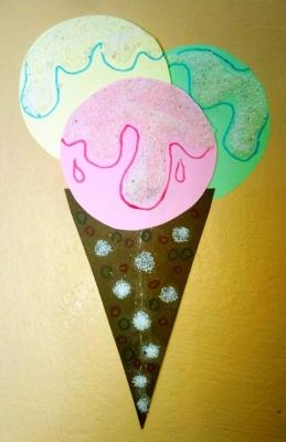 Аппликация Мороженное с манной крупой