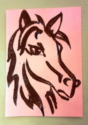 Портрет лошадки из кофе