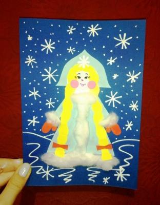 Великолепная Снегурочка из цветной бумаги, заглянула к нам в гости, с праздничным настроением.