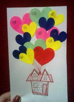 поделка из цветной бумаги для детей своими руками, открытка ко Дню Святого Валентина