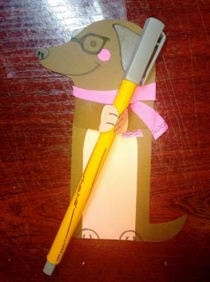 Собачка в модном шарфике из цветной бумаги, специально для вашей коллекции поделок!