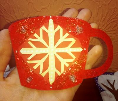 чашка на новый год из бумаги
