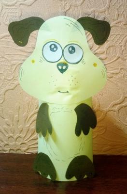 собака из цветной бумаги для детей своими руками