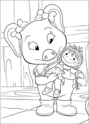 Поросёнка Пигли, телёнок Ферни и уточка Дана снова радуют нас отличной подборкой раскрасок. Скачай всю подборку одним файлом вы можете прямо сейчас.