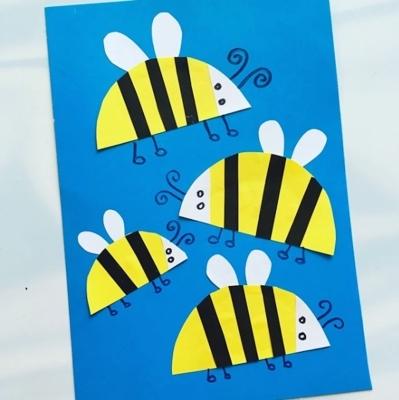 аппликация пчелки из бумаги